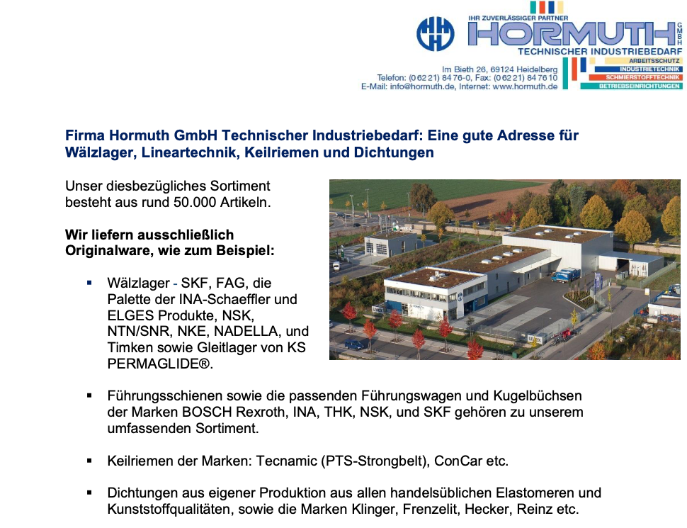 HormuthGmbHTechnischerIndustriebedarf_Waelzlager_Lineartechnik_Keilriemen_Dichtungen_cover